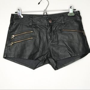 Free People Black Faux Leather Shorts Zippers - 0